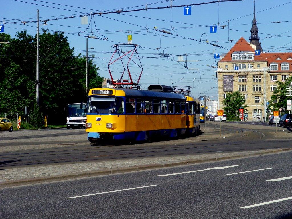 Tatra Zug Der Linie 1 In Leipzig Juni 2010 Nahverkehr Deutschland