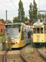 Strassenbahn/4865/alt-und-neu-sept-2007-an ALT und NEU, Sept. 2007 an der Endstelle Viereckremise