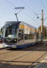 Strassenbahn/32445/linie-11-in-schkeuditz-bereit-zur Linie 11 in Schkeuditz, bereit zur Fahrt nach Leipzig, 19.9.2009