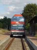 Dessau-Worlitzer Eisenbahn/32698/stirnansicht-des-doppelstocktriebwagens-hier-in-oranienbaum Stirnansicht des Doppelstocktriebwagens, hier in Oranienbaum - September 2009