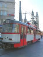 Strassenbahn/32526/tatra-tw-1177-in-halle-marktplatz Tatra Tw 1177 in Halle, Marktplatz - 19.9.2009