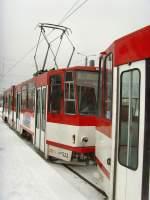 strassenbahn/49207/tatra-zug-an-der-endstelle-messe-der Tatra-Zug an der Endstelle Messe der Linie 2, Erfurt am 1. 1. 2010