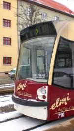 strassenbahn/57215/kleiner-combino-als-beiwagen-auf-der Kleiner Combino (als Beiwagen) auf der Linie 2, Erfurt 2010