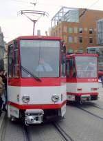 strassenbahn/65466/seltene-begegnung-zwei-tatras-auf-dem Seltene Begegnung zwei Tatras auf dem Anger, Erfurt 21.4.2010