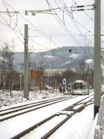 strassenbahn/50461/blick-zur-frueheren-endstelle-lobeda-west-vorn Blick zur früheren Endstelle Lobeda-West, vorn Neubaustrecke nach Göschwitz, Jena 4.1.2010